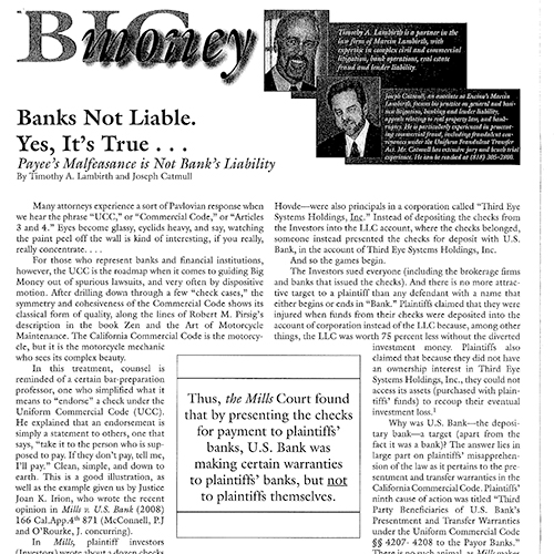 Banks Not Liable. – Big Money