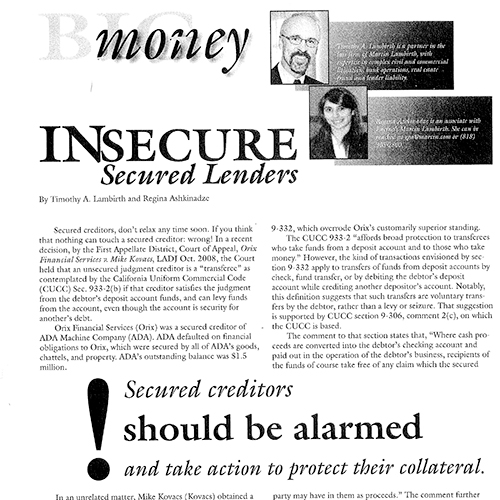 Insecure Secured Lenders – Big Money