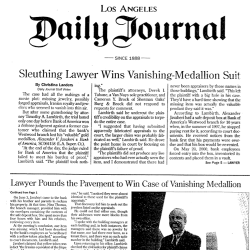 Sleuthing Lawyer Wins Vanishing-Medallion Suit – LA Daily Journal